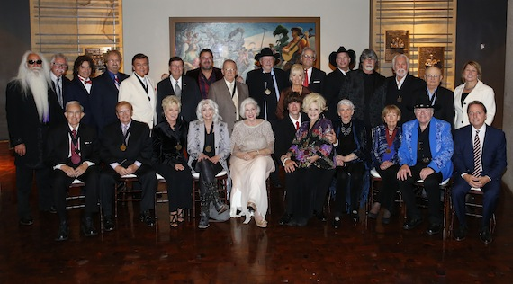 "Pictured are (back row, l-r): 2015 inductees William Lee Golden, Joe Bonsall, Richard Sterban, and Duane Allen of the Oak Ridge Boys; Ray Walker of the Jordanaires; Country Music Hall of Fame and Museum Chairman Steve Turner; Vince Gill; E.W. ""Bud"" Wendell; Bobby Bare; Country Music Hall of Fame and Museum CEO Kyle Young; Garth Brooks; Randy Owen of Alabama; Kenny Rogers; Charlie McCoy; and CMA CEO Sarah Trahern; (front row, l-r): Ralph Emery; Harold Bradley; Connie Smith; Emmylou Harris; 2015 inductee Bonnie Brown; Joshua Martin, son of 2015 inductee Grady Martin; Brenda Lee; 2015 inductee Maxine Brown; Jo Walker-Meador; Roy Clark; and Country Music Hall of Fame and Museum Board Trustee Jody Williams. Photo by Donn Jones"
