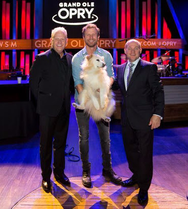 Dierks Bentley, Dailey & Vincent, and Bentley's dog Jake.