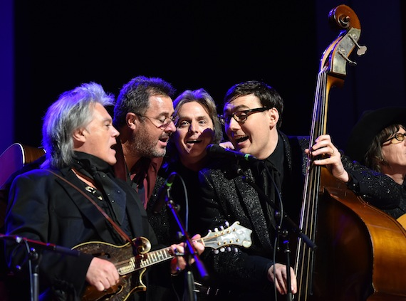 Pictured (L-R): Marty Stuart, Vince Gill, Harry Stinson, Chris Scruggs and Kenny Vaughan. (Photo by John Shearer/Getty Images for CMHOF)