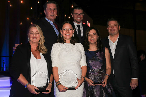 "Pictured (L-R): Back row NSAI Executive Director Bart Herbison and NSAI president Lee Thomas Miller.  Front Row (L-R): Liz Rose, Hillary Lindsey and Lori McKenna (Song of the Year for ""Girl Crush"") and NSAI Songwriter of the Year Rodney Clawson."