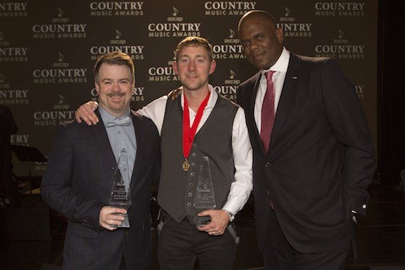 Pictured (L-R):  Ben Vaughn, Warner/Chappell; Songwriter of the Year Ashley Gorley; Jon Platt, Warner Chappell.