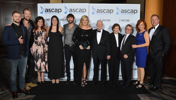 Pictured (L-R): Justin Timberlake, Lady Antebellum, Trisha Yearwood, Allie Brooks, President Jimmy Carter and Mrs. Carter, ASCAP President Paul Williams, Reba McEntire and Garth Brooks.