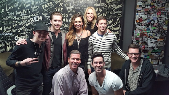 Pictured: (L-R, back row): Backroad Anthem members; Ashley Gearing, BMI songwriter; Leslie Roberts, BMI. Front Row: Mark Mason, BMI; Craig Strickland, Backroad Anthem; Perry Howard, BMI
