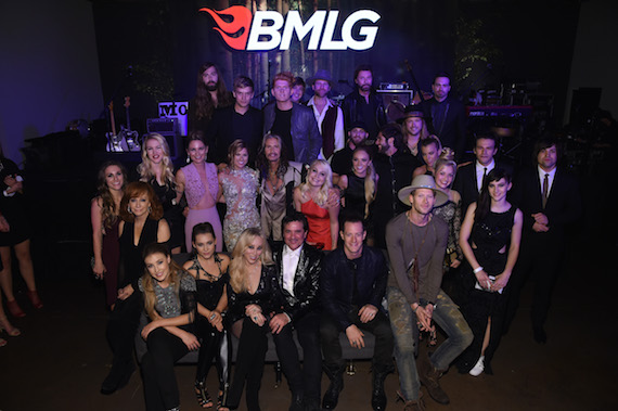 Pictured (L-R, Back Row):- A Thousand Horses' Graham Deloach, Levi Hummon, Seth Alley, A Thousand Horses' Bill Satcher, Drake White, Ronnie Dunn And A Thousand Horses' Zach Brown. Middle Row: Tara Thompson, Reba, Ashley Campbell, Jennifer Nettles, Cassadee Pope, Steven Tyler, RaeLynn, Danielle Bradbery, Brantley Gilbert, Thomas Rhett, A Thousand Horses' Michael Hobby, Savannah Keyes, The Band Perry's Kimberly Perry, Aubrey Peeples, TBP's Reid Perry and Neil Perry. Front Row: Maddie & Tae, BMLG SVP, Creative Sandi Spika Borchetta, BMLG President/CEO Scott Borchetta, Florida Georgia Line's Tyler Hubbard And Brian Kelley. Photo: Getty Images for BMLG.