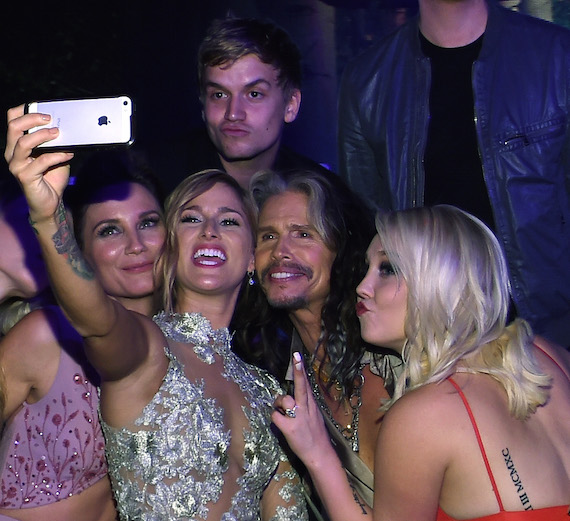 Pictured (L-R): Jennifer Nettles, Levi Hummon, Cassadee Pope, Steven Tyler and RaeLynn.