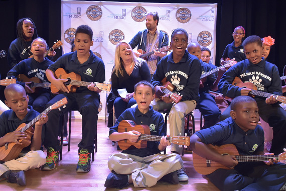 Liz Rose pictured during a recent Words & Music session with Moesha, a seventh grader from the Bronx, and classmates. Photo: Rick Diamond/Getty Images