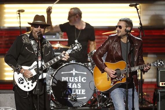 Pictured (L-R): Hank Williams Jr and Eric Church. Photo: John Russell/CMA