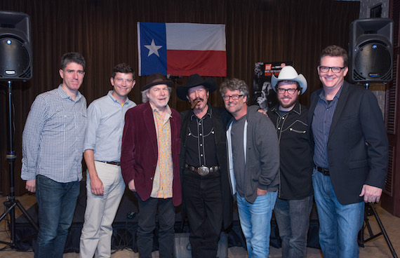 Pictured: (L-R): John Strohm, attorney, Loeb & Loeb; Logan Rogers, Thirty Tigers; Buddy Miller, songwriter; Kinky Friedman, BMI songwriter; Jed Hilly, Americana Music Association; Brian Molnar, producer; and Perry Howard, BMI.