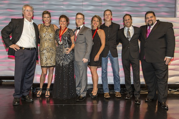 Magic Mustang Music SESAC's Country Publisher of the Year.  Pictured (L-R): Magic Mustang's Rick Shedd, SESAC's Shannan Hatch, Magic Mustang's Juli Newton-Griffith, Keithan Melton, Lydia Shultz, Josh Brown & Jon Loba and SESAC's Tim Fink.