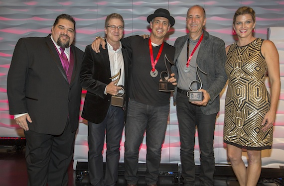"""""""Homegrown"""" wins SESAC Nashville Music Awards Song of the Year. Pictured (L-R): SESAC's Tim Fink, Southern Ground's Richard Blackstone, Wyatt Durrette, Southern Ground's Rob Parker & SESAC's Shannan Hatch."""