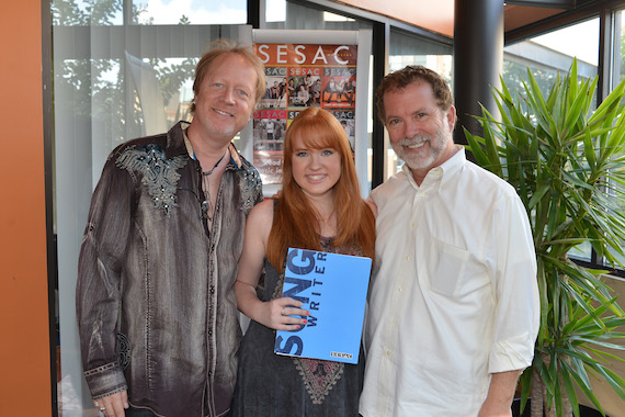 Pictured (L-R):  Ron Wallace, Skylar Wallace and SESAC's Dennis Lord. Photo: Peyton Hoge