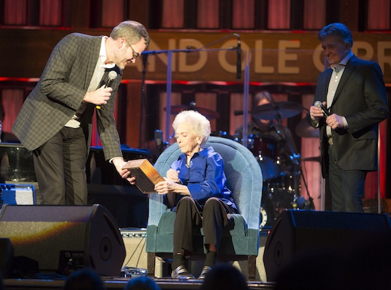 Pictured (L-R): Steve Buchanan, Jean Shepard, Bill Anderson. Photo: Chris Hollo, Opry.
