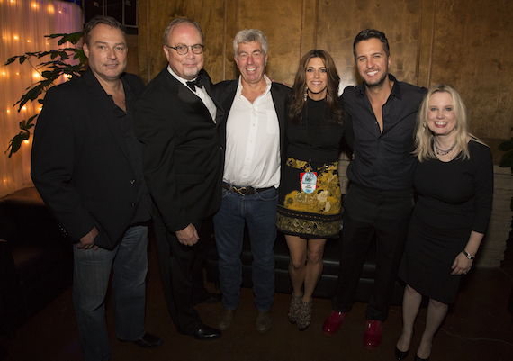 Pictured (L to R): Red Light Management's Ed Green; Mike Dungan, Chairman and CEO, UMGN; Red Light Management's Coran Capshaw; KP Entertainment's Kerri Edwards; Luke Bryan; Cindy Mabe, President, UMGN