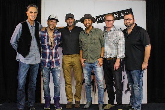 Pictured (L-R): David Ross, President/CEO, Reviver Records; Chris Lucas, LOCASH; Tim McGraw; Preston Brust, LOCASH; John Ozier, GM Creative, ole; Randall Foster, Sr. Director Creative Licensing, ole