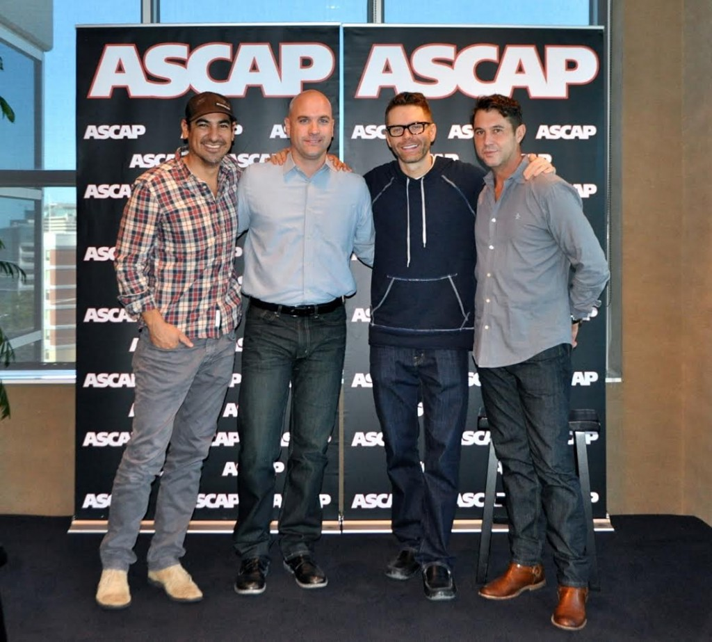 Pictured (L-R): Producer Eddie; Robert Filhart, Creative Director, ASCAP; Bobby Bones; Michael Martin, VP Of Membership, ASCAP.