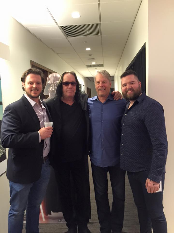 Pictured (L-R): Ben Short, Marketing Coordinator, Warner/Chappell Production Music; Todd Rundgren; Randy Wachtler, President & CEO, Warner/Chappell Production Music; David MacMahon Mount, VP, Business Development, Warner/Chappell Production Music.