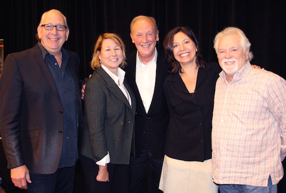 Pictured (L-R): John Esposito, incoming Chairman of the CMA Board and President and CEO of Warner Music Nashville; Sarah Trahern, CMA Chief Executive Officer; Frank Bumstead, outgoing CMA Board Chairman and Chairman of Flood, Bumstead, McCready & McCarthy, Inc.; Sally Williams, incoming CMA Board President and General Manager of Ryman Auditorium; and Bill Simmons, incoming CMA Board President-Elect and Vice President at The Fitzgerald Hartley Company. (Not pictured: Jessie Schmidt, returning CMA Board Secretary/Treasurer and President of Schmidt Relations.) Photo: Christian Bottorff / CMA