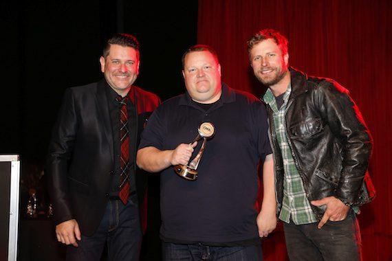 Pictured (L-R): Jay DeMarcus, James McDermott, Dierks Bentley. Photo: Donn Jones
