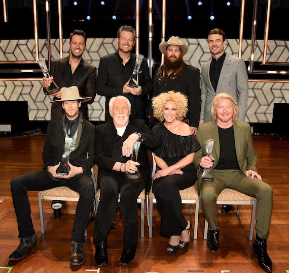 Pictured (Back row, L-R): Luke Bryan, Blake Shelton, Chris Stapleton, Sam Hunt. (Front row, L-R) Florida Georgia Line's Brian Kelley, Kenny Rogers, Little Big Town's Kimberly Schlapman, and Phillip Sweet. Photo: Rick Diamond/Getty Images for CMT
