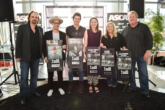 Pictured (L-R): MusicRow's Sherod Robertson, manager Brad Belanger on behalf of Sam Hunt, Breakthrough Songwriter Michael Carter, Song of the Year co-writers Hillary Lindsey and Liz Rose, and ASCAP's Mike Sistad. Photo: Bev Moser