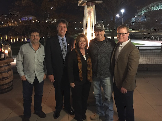 Pictured (L-R): Phil O'Donnell, ole songwriter; Greg Martz, Chairman, Tennessee Chamber of Commerce & Industry; Catherine Glover, President, Tennessee Chamber of Commerce & Industry; Shane Minor, songwriter; John Ozier, ole GM, Nashville Creative.