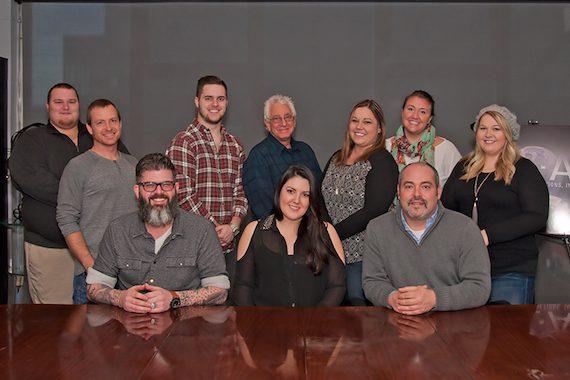 Back Row (L-R): Joe Lee; Brian Fee;  Grayson Flatness, David Kinswiney, Senior VP, BLA; Amy Aylward; Aura Guadagno;  Nicole Wyatt. Front Row (L-R): Clint Perry, Plaid Flag Music; Kree Harrison; Mike Meade, Representing Agent/VP, BLA.