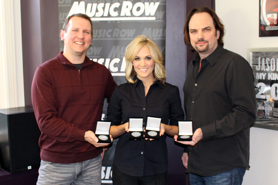 Pictured (L-R): MusicRow Chart Director Troy Stephenson, Carrie Underwood, MusicRow Owner/Publisher Sherod Robertson. Photo: Molly Hannula