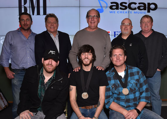 Back Row, (L-R): Eric Gallimore (Red Vinyl), David Preston (BMI), John Esposito (Warner Music Nashville), Marc Driskill (Sea Gayle), Mike Sistad (ASCAP). Front Row (L-R): Brent Anderson (producer), Chris Janson, and Chris Dubois. Photo: Getty Images for BMI.