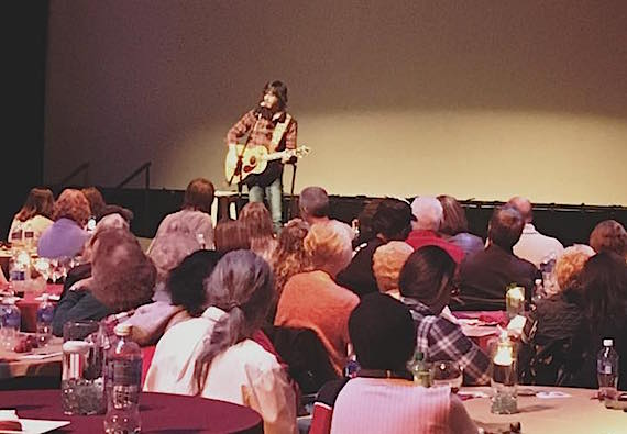 Chris Janson performs for Grand Ole Opry employees.