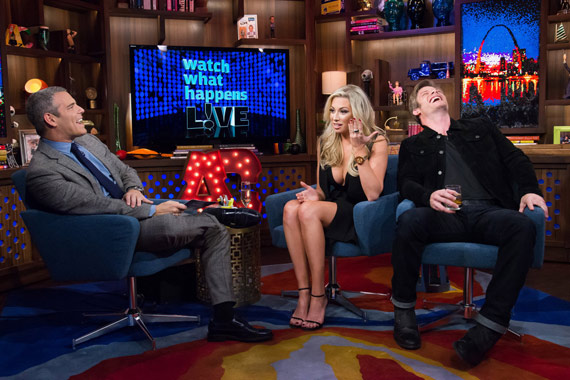 Pictured (L-R): Andy Cohen, Stassi Schroeder and Chris Carmack. Photo: BRAVO