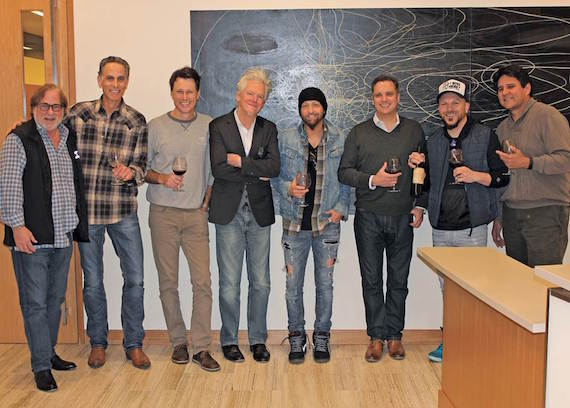 Pictured (L-R): Rod Essig, CAA; David Ross, Reviver Records; Marc Dennis, CAA; Skip Bishop, Vector Management; Preston Brust, LOCASH; Brian Hill, CAA; Chris Lucas, LOCASH; Gator Michaels, Reviver Records. Photo: Jacki Artis/CAA