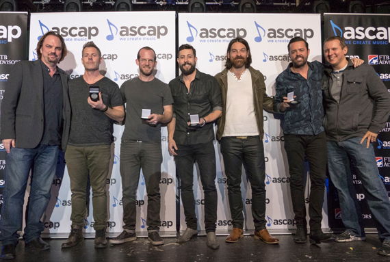 Pictured (L-R): MusicRow's Sherod Robertson, Trevor Rosen, Matthew Ramsey, Brad Tursi and MusicRow's Troy Stephenson. Photo: Ed Rode for ASCAP
