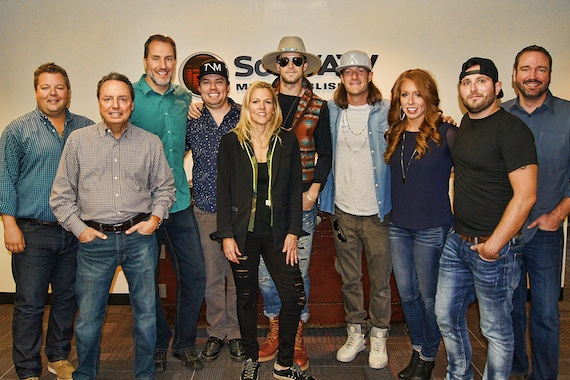 Pictured (L-R): Bradley Collins, BMI; Jody Williams, BMI; Tom Luteran, Sony/ATV; James; McNair, Leslie Roberts, BMI; Brian Kelley and Tyler Hubbard, Tree Vibez; Hannah Williams, Sony/ATV; Schmidt; Josh Van Valkenburg, Sony/ATV.