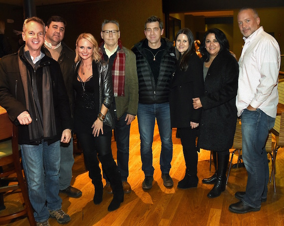 Pictured (L-R):  Steve Hodges, EVP Promotion & Artist Development, Sony Music Nashville; Jim Catino, A&R VP, Sony Music Nashville; Miranda Lambert; Randy Goodman, Chairman & CEO, Sony Music Nashville; Ken Robold, EVP & COO, Sony Music Nashville; Taylor Lindsey, A&R Senior Director, Sony Music Nashville; Caryl Healey, Sales VP, Sony Music Nashville; Keith Gale, Sr. VP National Promotion, RCA Nashville. Photo: Rick Diamond/Getty Images