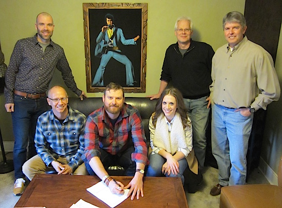Pictured (bottom row, L-R): Scott Gunter, Durango Artist Management; Drew Kennedy; Sarah Feldman, Writers Den Music Group. (Top row, L-R): Austen Adams, Dickinson Wright PLLC; Bobby Rymer, Partner, Writers Den Music Group; John Rolfe, Rolfe Entertainment Law
