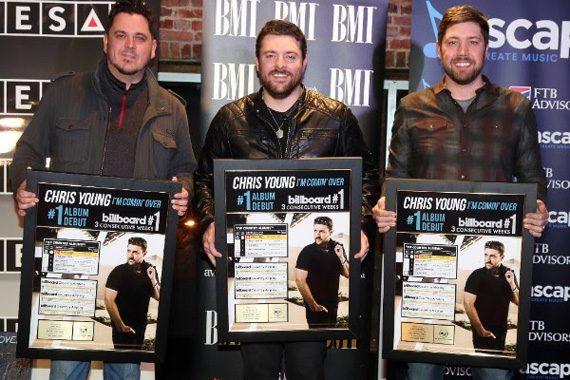 Pictured (L-R): Josh Hoge (SESAC), Chris Young (BMI), Corey Crowder (ASCAP). Photo: Alan Poizner