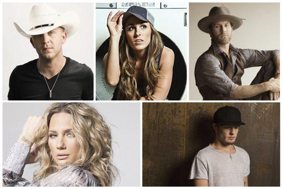 PIctured (clockwise from top right): Justin Moore, Tara Thompson, Drake White, Jennifer Nettles, and Tucker Beathard.