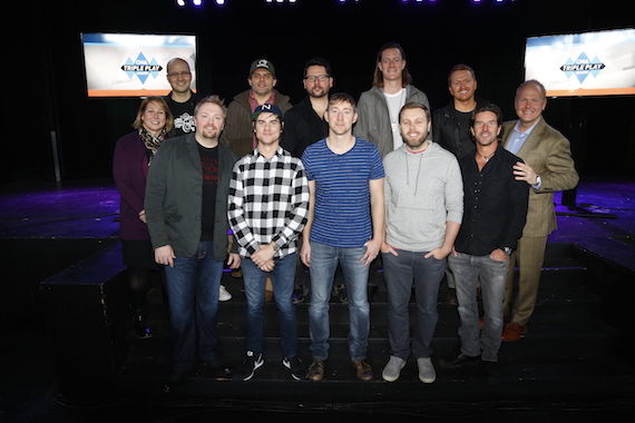 Pictured (Back row, L-R): Luke Laird; Rhett Akins; Chris DeStefano; Tyler Hubbard; Shane McAnally. (Front row, L-R): Sarah Trahern, CMA Chief Executive Officer; Josh Osborne; Ross Copperman; Ashley Gorley; Zach Crowell; Brett James; host Troy Tomlinson, President and CEO of Sony/ATV Music Publishing. Photo: Donn Jones / CMA