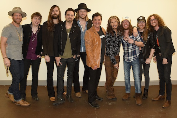 Pictured (L-R): Drake White, A Thousand Horses' Bill Satcher, Graham DeLoach, Zach Brown and Michael Hobby, BMLG President/CEO Scott Borchetta, Steven Tyler, The Cadillac Three's Jaren Johnston, Neil Mason, and Kelby Ray