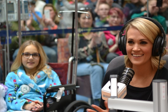 While on tour in Pennsylvania this week, Carrie Underwood visited the Children's Hospital of Philadelphia with the Ryan Seacrest Foundation where she was interviewed by and met patients at the Foundation's Seacrest Studios.