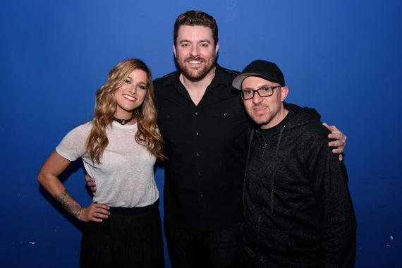 Pictured (L-R):Cassadee Pope, Chris Young and Adam Weiser (AEG Live).Photo: Matthew Eisman/Getty Images for Monarch Publicity