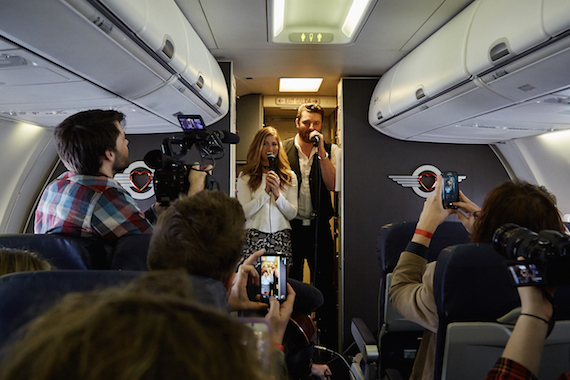RCA Records' Chris Young along with duet partner, Republic Nashville's Cassadee Pope, give surprise Live at 35® inflight performance on Southwest Airlines' inaugural flight of Tennessee One.