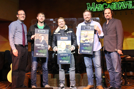 Pictured (L-R): MusicRow's Craig Shelburne, songwriters Ashley Gorley, Shane McAnally and Josh Osborne, and MusicRow's Sherod Robertson.