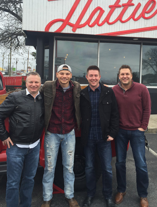 Pictured (L-R): KXLY Spokane APD Tim Cotter, Brown, WWKA Orlando PD Drew Bland, and Tony and Kris in the Morning's Kris Rochester.