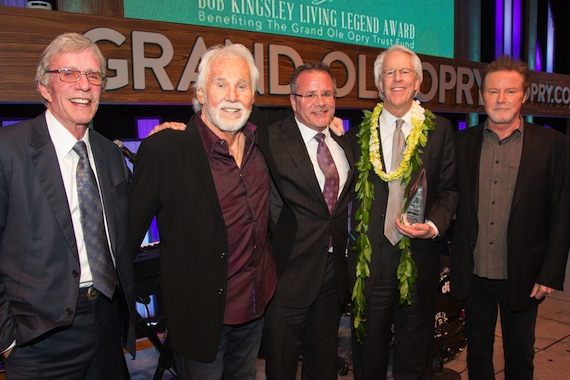 Pictured (L-R): Bob Kingsley; Kenny Rogers; Pete Fisher, VP/GM, Grand Ole Opry;  Jim Ed Norman; Don Henley