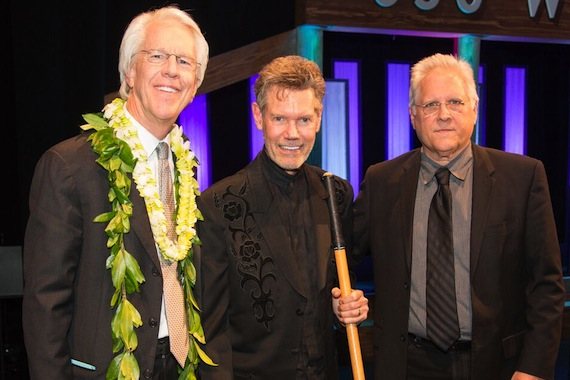 Pictured (L-R): Jim Ed Norman, Randy Travis, Kyle Lehning