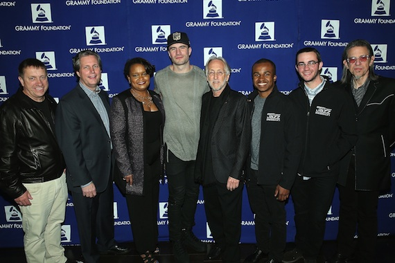 Pictured (L-R): Tim Bucher, Grammy Foundation Board Chair; Phillip Riggs, Music Educator Award recipient; Pamela Alexander, Ford Motor Company director of community development; Sam Hunt, Grammy nominee; Neil Portnow, President/CEO of The Recording Academy and the Grammy Foundation; members of Grammy Camp - Jazz Session. Photo: The Recording Academy/WireImage.com, Jesse Grant