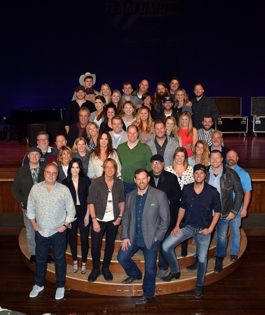 Row 1: UMG Nashville Chairman and CEO Mike Dungan, Kacey Musgraves, Keith Urban, UMG Nashville SVP Promotion Royce Risser, EMI's Ron Bradley and Luke Bryan. Row 2:  Capitol's Shane Allen, EMI's John Trapane, Capitol's Brent Jones, MCA's Michelle Tyrrell, MCA's Katie Dean, Capitol's Diane Lockner, EMI's Mike Krinik, EMI's Jamie Graves, Mercury's Jill Brunett, UMG Nashville's Sarah Beth Watson, Capitol's Jeremy Guenther and EMI's Jimmy Rector. Row 3: Capitol's Bobby Young, MCA's Donna Jo Passuntino, MCA's Anna Johnson, UMG Nashville's David Friedman, Mercury's Summer Harlow, MCA's Julianna Vaughn, Lauren Alaina, UMG Nashville's Chris Schuler and Mercury's Damon Moberly. Row 4: Eric Paslay, UMG Nashville's Donna Hughes, MCA's Miranda McDonald, Capitol's Ashley Laws, EMI's Trudie Daniell, Mercury's Charlie Dean and Canaan Smith. Row 5: Jon Pardi, Capitol's Paige Elliott, Mercury's Nick Kaper, UMG Nashville's Mike Harris, Chris Stapleton, Vince Gill, Mercury's Sally Green and EMI's Chris Fabiani. Photo: Peyton Hoge