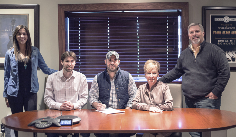 Pictured (L-R): Kelly Bolton, Catalog Manager, Black River Publishing; Dave Pacula, Creative Director, Black River Publishing; Ben Caver, Celia Froehlig, Vice President of Black River Publishing; Gordon Kerr, CEO, Black River Entertainment.