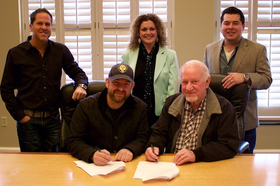 Pictured (L-R, Bottom Row): Kristian Bush; BBR Music Group CEO/President Benny Brown; (Top Row) BBR Music Group EVP Jon Loba; Magic Mustang Music VP of Publishing Juli Newton-Griffith; BBR Music Group Legal & Financial Affairs Colton McGee